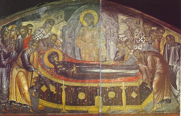 Απεικονίζεται η εικόνα της Κοίμησης της Θεοτόκου