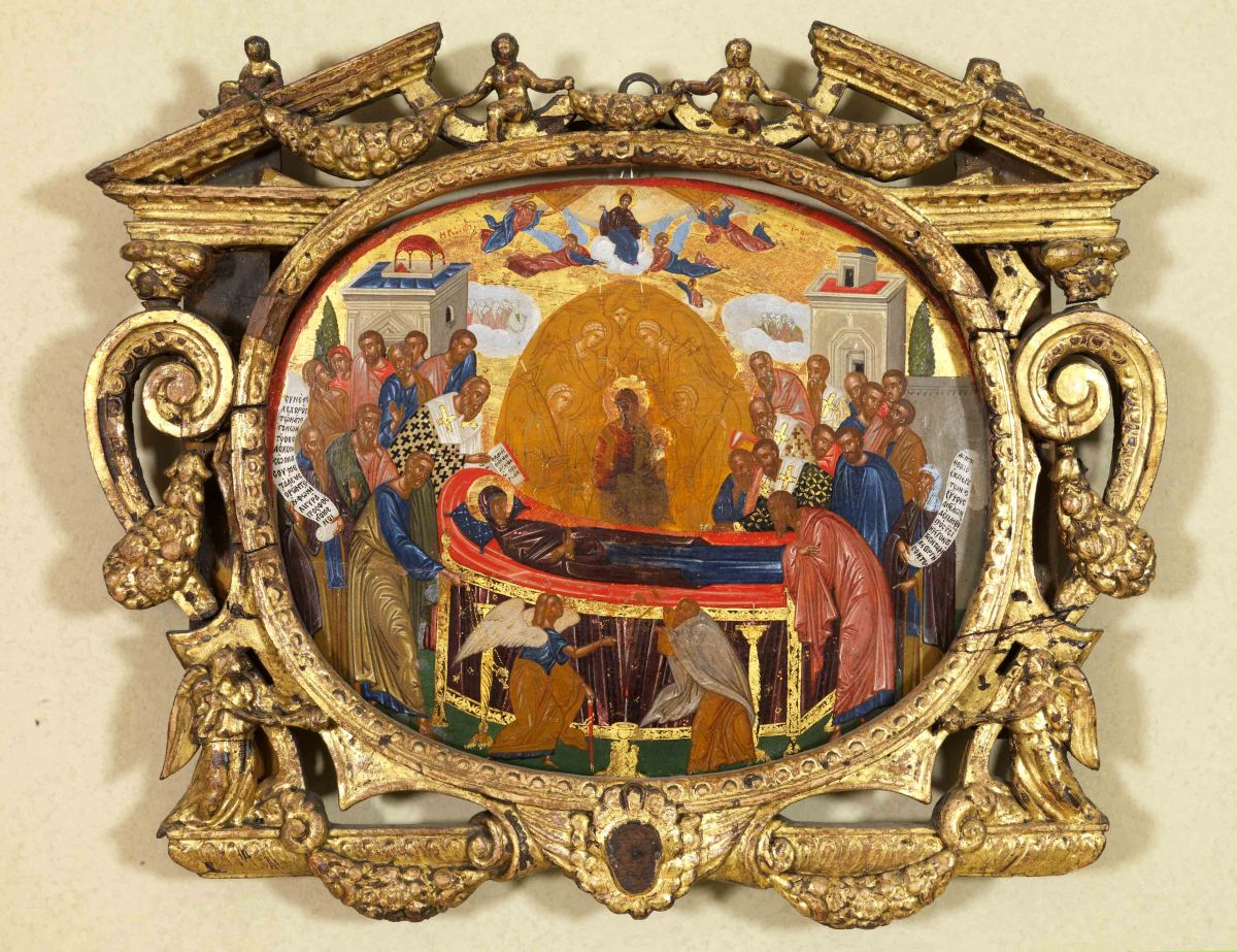 Απεικονίζεται Η Κοίμηση της Παναγίας γύρω στο 1600