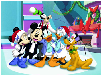 Απεικονίζεται ο Μίκι, η Μίνι, ο Ντόναλντ, η Ντέζι, ο Γκούφι και ο Πλούτο σε περιόδο Χριστουγέννων