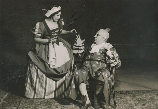 """Στον """"Κατά φαντασίαν ασθενή"""" του Μολιέρου μαζί με την Μιράντα Μυράτ το 1937"""