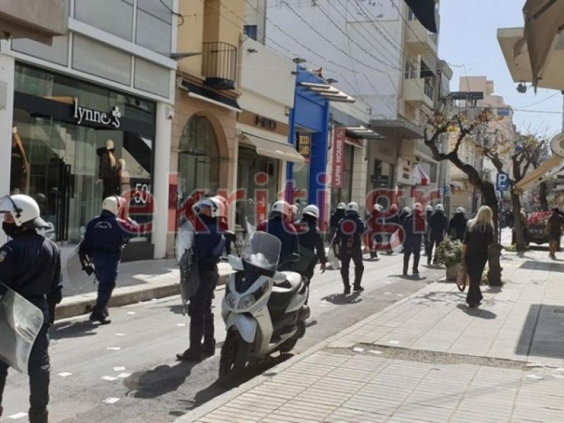 Πορεία στο κέντρο του Ηρακλείου