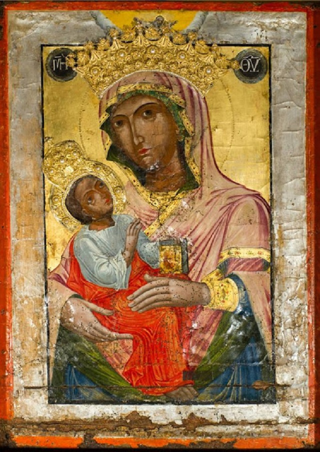 Η θαυματουργή εικόνα της Μεγάλης Παναγιάς. Φυλάσσεται στον ιερό ναό του Αγίου Δημητρίου και της Μεγάλης Παναγιάς στην Θήβα και φιλοτεχνήθηκε απο τον Απόστολο και Ευαγγελιστή Λουκά κατά το 70 μ.χ.