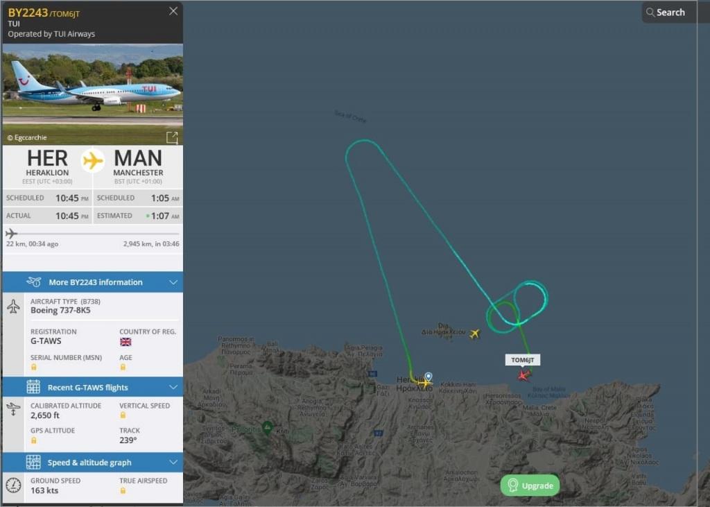 Η πτήση της TUI από Ηράκλειο προς Μάντσεστερ