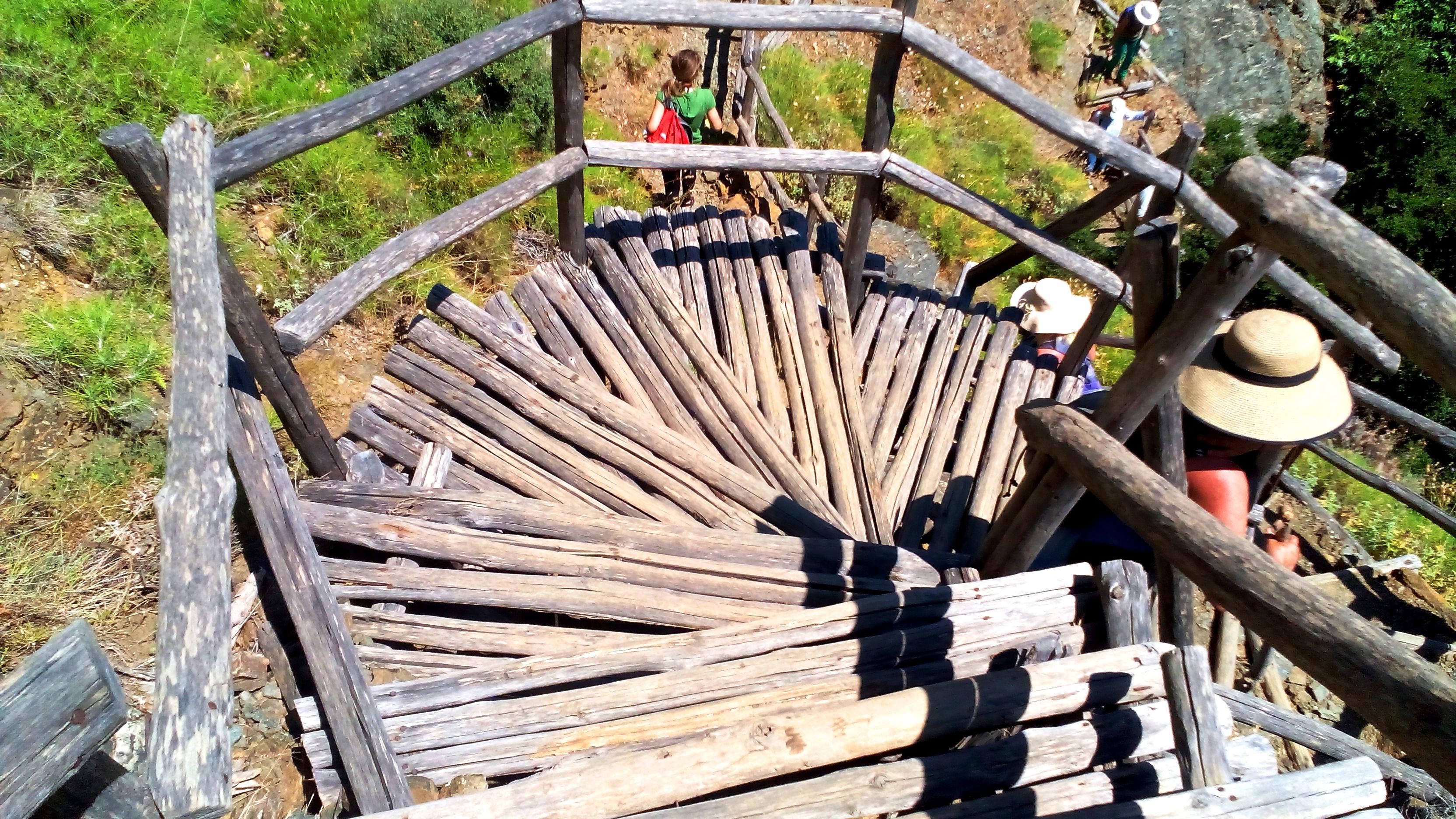 Η ξύλινη σκάλα που οδηγεί στον καταρράκτη του Ρίχτη