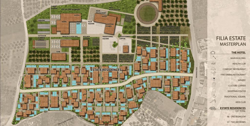 Στο πλαίσιο της επένδυσης πρόκειται να δημιουργηθούν συνολικά 127 εξοχικές κατοικίες, 70 – 95 τ.μ..