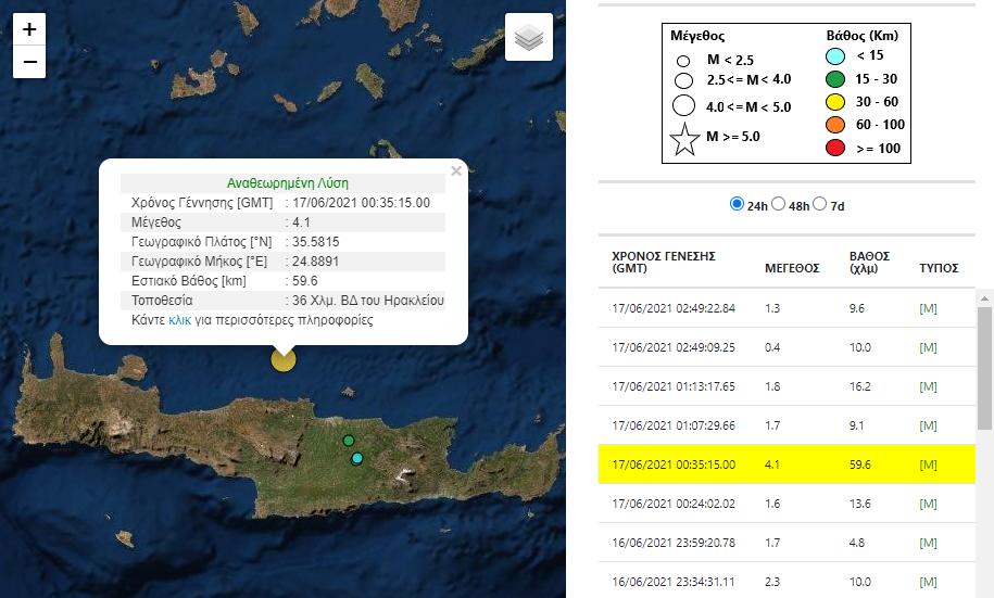 Νέα σεισμική δόνησησ στο Ηράκλειο