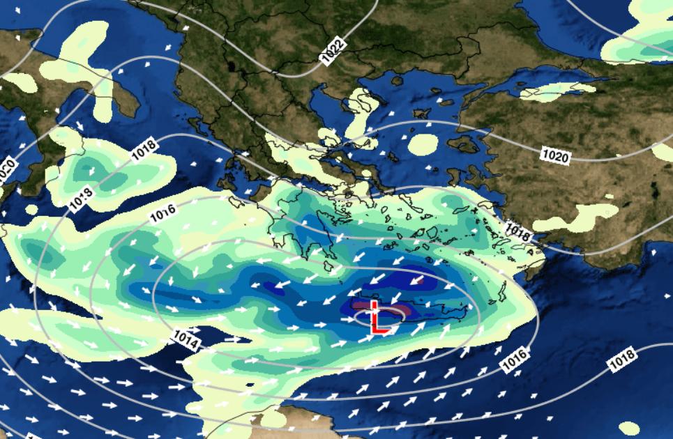 Στο Χάρτη φαίνεται η θέση του βαρομετρικού χαμηλού και ο υετός (βροχή/χιόνι) που αναμένεται το πρωί της Δευτέρας 18/1.