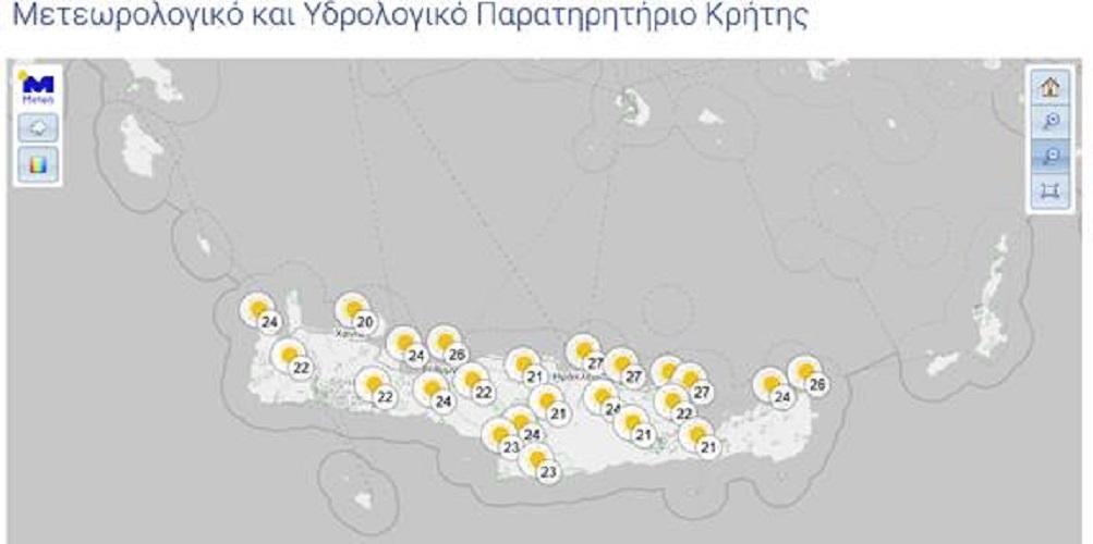 Χάρτης 1: Προγνωστικός χάρης θερμοκρασιών και φαινομένων για το μεσημέρι της Τρίτης 21/04
