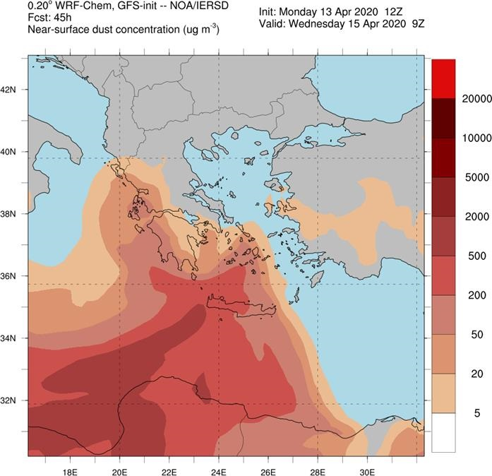Ο χάρτης για τη συγκέντρωση αφρικανικής σκόνης