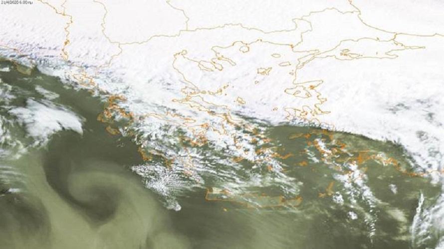 Χάρτης 2: Δορυφορική φωτογραφία το πρωί της Τρίτης 21/04