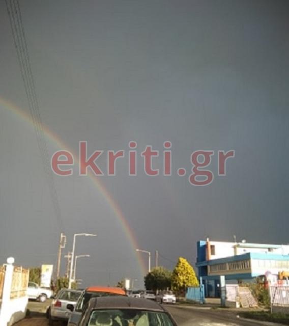 Διπλό ουράνιο τόξο πάνω από το Ηράκλειο