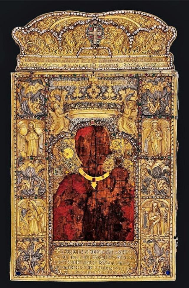 Η θαυματουργή εικόνα της Παναγίας Σουμελάς. Βρίσκεται σήμερα στο ομώνυμο προσκύνημα στο όρος Βέρμιο, της Βέροιας