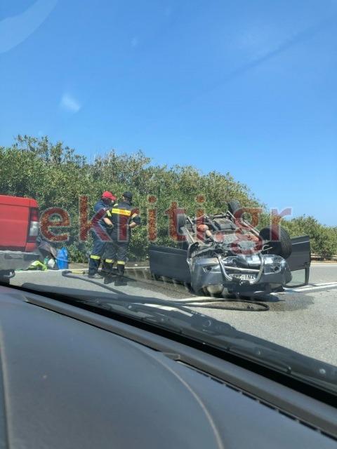 Το ατύχημα σημειώθηκε λίγο μετά την Παναγιά τη Χαρακιανή, στο ρεύμα από Ηράκλεο προς Ρέθυμνο