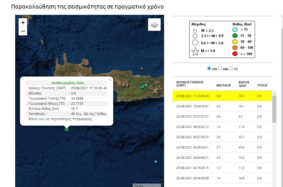 Σεισμος ανοιχτα της Κρήτης